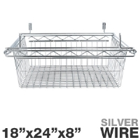 "Alera SW59WB2418SR Sliding Wire Basket - For Wire Shelving, 18""x24""x8"", Wire, Silver"
