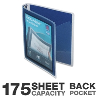 "Avery 17685 Flexi View Presentation Binder - 175 Sheet Capacity, 1"" Round Ring, Back Pocket, 3 Fasteners, Navy Blue"