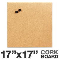 "Board Dudes 19163UA4 Magnetic Canvas Cork Board - 17""x17"", Unframed, Fine Grain Cork"