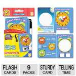 Write On/Wipe Off Flash Cards, Telling Time, K and Up, 9/Pk