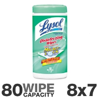 "Lysol 77182 Sanitizing Wet Wipes - 7"" x 8"" Cloth, 80 Wipes, Citrus Scent"