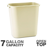 Rubbermaid 29560 Rectangular Wastebasket - 15&quot; Height, 7 Gallon Capacity, Open Top, Soft Molded Plastic, Beige