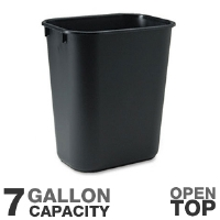 "Rubbermaid 29561 Rectangular Wastebasket - 15"" Height, 7 Gallon Capacity, Open Top, Soft Molded Plastic, Black"