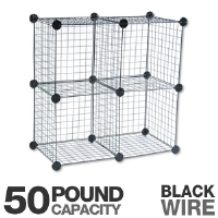 Safco 5279BL Cube Shelving System - Quick Lock Connectors, Four 14&quot; Cube Shelves, 50 Lbs Capacity, Wire, Black