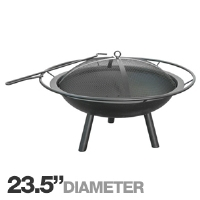 "Landmann 28240 Halo Fire Pit - 23.5"" Diameter Bowl, 360 Degree View, Full Diameter Handle, Steel Construction"