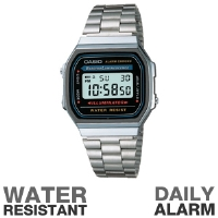 Casio A168W-1 Classic Watch - Water Resistant, EL Backlight, Daily Alarm, Hourly Time Signal, Auto Calendar