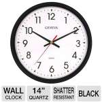 "Geneva Commercial Wall Clocks  Black 14"" Quartz Analog Wall Clock"