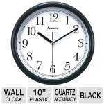 Advance Time Technology  Black 10&quot; Plastic Wall Clock