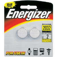 Energizer 2032BP-2 3V Lithium Button Cell Battery Retail Pack - 2-Pack
