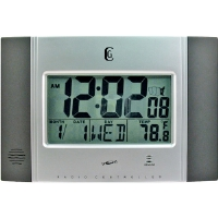 Geneva Radio Controlled LCD Wall Clock - 24 Hour Time, Temperature Display, Calendar, Silver - 4625G