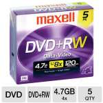 Maxell MXL-DVD+RW/5 4x Rewritable DVD+RW - 5 Pack