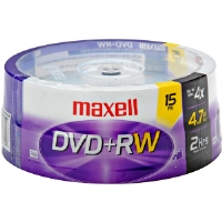 Maxell MXL-DVD+RW/15 4x Rewritable DVD+RW Spindle - 15 Disc Spindle