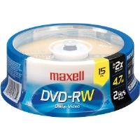 Maxell MXL-DVD-RW/15 2x Rewritable DVD-RW Spindle - 15 Disc Spindle
