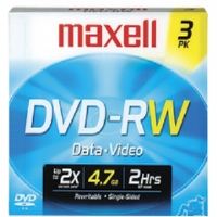 Maxell DVD-RW2X/3 2x Rewritable DVD-RW - 3 Pack