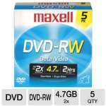 Maxell DVD-RW2X/5 2x Rewritable DVD-RW - 5 Pack