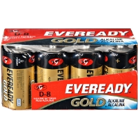 Eveready A95-8 D Cell Alkaline Battery Bulk Pack - 8-Pack