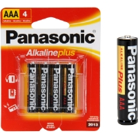 Panasonic AM-4PA/4B AAA Alkaline Plus� Battery Retail Pack - 4 Pack