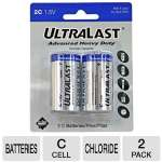 Ultralast ULHD2C C Cell Heavy-Duty Zinc Chloride Battery Retail Pack - 2 Pack