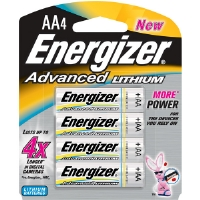Energizer EA91BP-4 AA Advanced Lithium Battery Retail Pack - 4-Pack