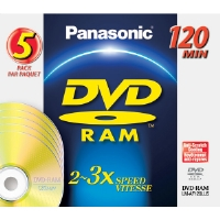 Panasonic LM-AF120LU5 Rewritable DVD-RAM Disc Without Cartridge - 5 Pack