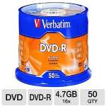 DVD-R Discs, 4.7GB, 16x, Spindle, Silver, 50/Pack