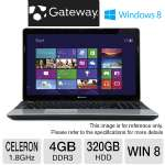 Gateway NE56R31u Notebook PC - Intel Celeron Dual Core B830 1.8GHz, 4GB DDR3, 320GB HDD, DVDRW, 15.6 in. Display, Windows 8 (RB-NE56R31u) (Refurbished)