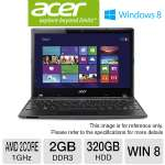 "Acer Aspire One AO725-0687 Netbook - AMD Dual-Core C-70 1.0GHz, 2GB DDR3, 320GB HDD, 11.6"" Display, Windows 8 64-bit, 4-Cell, Red (NU.SH6AA.001) (Refurbished)"