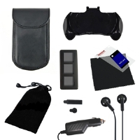 GameFitz GF-004 PSP Go 10-in-1 Accessory Kit - Car Charger and Case, Screen Protector, Leather Case, Earphones, Cleaning Cloth