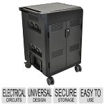 Ergotron Power Shuttle Charging Cart - Universal Design, Durable Construction, Secure Storage, Easy to Use, 20 Notebooks, Integrated Cable Management, Lockable, Battery Status Indicator - 24-291-085