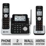at&t CL83201 650530022982 Cordless Phone - DECT 6.0, Digital 2 Handset, Built-in Answering System, Wall Mountable, HD Audio, Hearing Aid Compatible, Dial in Base, Base Speakerphone