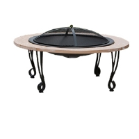 Well Traveled Living 02115 Cast Iron Rim Stone Finish Fire Pit - Porcelain Bowl, Black 