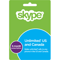 SKYPE PREPAID ECARD - 3 MONTH UNLIMITED US AND CA