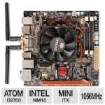 ZOTAC D2700ITXS-A-E Intel Atom Motherboard - Mini-ITX, Intel Atom D2700 2.13GHz CPU, Intel NM10 Express, 1066MHz DDR3, GeForce GT 520 512MB, SATA II (3Gb/s), 8-CH Audio, Gigabit LAN, WiFi-n, USB 3.0