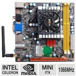ZOTAC IONITX-N-E Intel Motherboard - Mini-ITX, Intel Celeron 743 1.3GHz CPU, 1066MHz DDR3, NVIDIA ION Graphics, SATA II (3Gb/s), RAID, 7.1-CH Audio, Gigabit LAN, WiFi-n