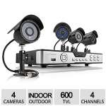 Zmodo 4CH 4CAM D1 DVR Security System - No HDD, 4x 600 TVL Weatherproof Cameras, Up to 80ft of Night Vision, Email Alerts, Free Mobile App - KDB4-CARQZ4ZN