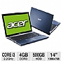 "Alternate view 1 for Acer Aspire AS4830T-6402 14"" Blue Notebook REFURB"