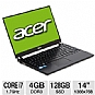 "Acer TravelMate TimeLineX TM8481T-6873 LX.V4V03.112 Notebook PC - Intel Core i7-2637M 1.7GHz, 4GB DDR3, 128GB SSD, 14"" Display, Windows 7 Professional 32/64-bit (Refurbished)"