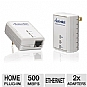 Actiontec 500Mbps Powerline Network Adapter Kit - 500Mbps, 2x Adapters, RJ-45, 128-bit AES Pushbutton Security, White (PWR511K01)