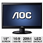 "AOC e950Sw 19"" Class Widescreen LED Backlit Monitor - 1366 x 768, 16:9, 20000000:1 Dynamic, 60Hz, 5ms, VGA (Refurbished)"
