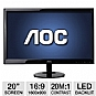 "AOC e2051Sn 20"" Class Widescreen LED Backlit Monitor - 1600 x 900, 16:9, 20000000:1 Dynamic, 60Hz, 5ms, VGA"