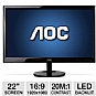 "AOC e2251Swdn 22"" Class Widescreen LED Backlit Monitor - 1920 x 1080, 16:9, 20000000:1 Dynamic, 60Hz, 5ms, DVI, VGA, Energy Star"