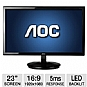 "Alternate view 1 for AOC 23"" 1080p LED with Special Cable Input Base"