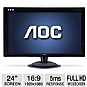 "Alternate view 1 for AOC 2436V 24"" Full 1080P HD DVI Monitor"