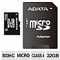 ADATA AUSDH32GCL4-RA1 microSDHC Flash Card - 32GB, Class 4, SD Adapter Included