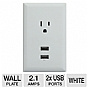 RCA Audiovox WP2UWR USB Wall Plate Charger - 2x USB, 2.1 Amps, Plug 'N Play, White