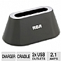 RCA PCHSTAB2R USB Charging Dock - 2.1 amps, Full-Speed Charging, 2x USB Outlets, 1x AC Outlet, Cradle