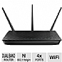 Asus RT-N66U Dual-Band Wireless-N900 Gigabit Router - 802.11n, Up to 450Mbps, 2.4-2.4835GHz, 3x Detachable Antennas, 5x RJ-45 Ports, 2x USB 2.0 Ports (Refurbished)