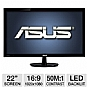 "ASUS VS228H-P 22"" Class Widescreen LED Backlit Monitor - 1920 x 1080, 16:9, 50000000:1 Dynamic, 5ms, HDMI, DVI, VGA, Energy Star"
