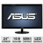 "ASUS VS247H-P 24"" Class Widescreen LED Backlit Monitor - 1920 x 1080, 16:9, 50000000:1 Dynamic, 2ms, HDMI, DVI, VGA, Energy Star"