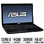 "Alternate view 1 for ASUS 15.6"" Core i3 320GB HDD Laptop"